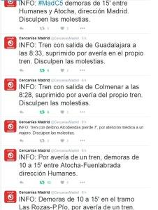 Mensajes de la cuenta oficial de Cercanías de Renfe en Twitter ayer mismo: supresiones, demoras, averías...